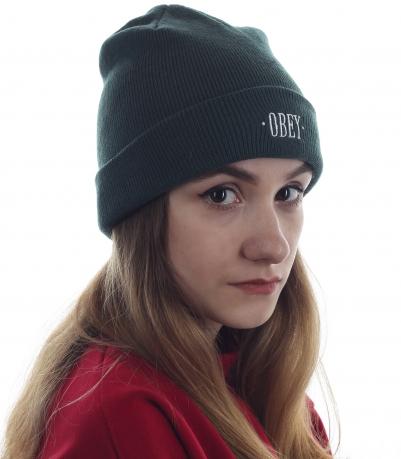 Женская однотонная шапка Obey. Популярная модель для городских прогулок и спорта