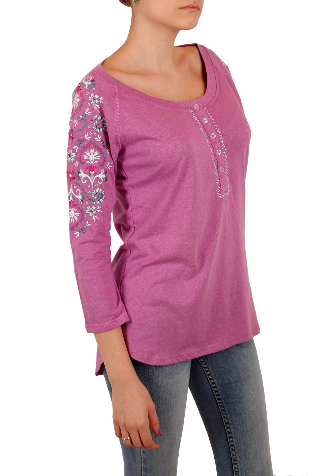 Женская розовая кофточка Panhandle. Оригинальная вышивка на рукавах, удлиненная спинка, приятная ткань и цена