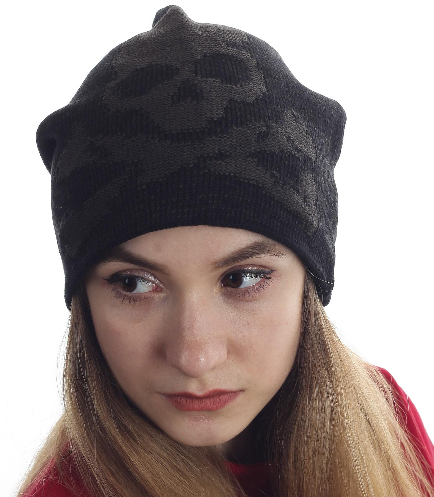 Женская шапка черного цвета - трендовая модель с черепом. Быть модной легко и недорого, заказывай!