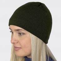 Женская трикотажная шапочка цвета хаки