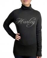 Женская водолазка с надписью стразами Harley