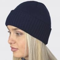 Женская вязанная шапочка с отворотом