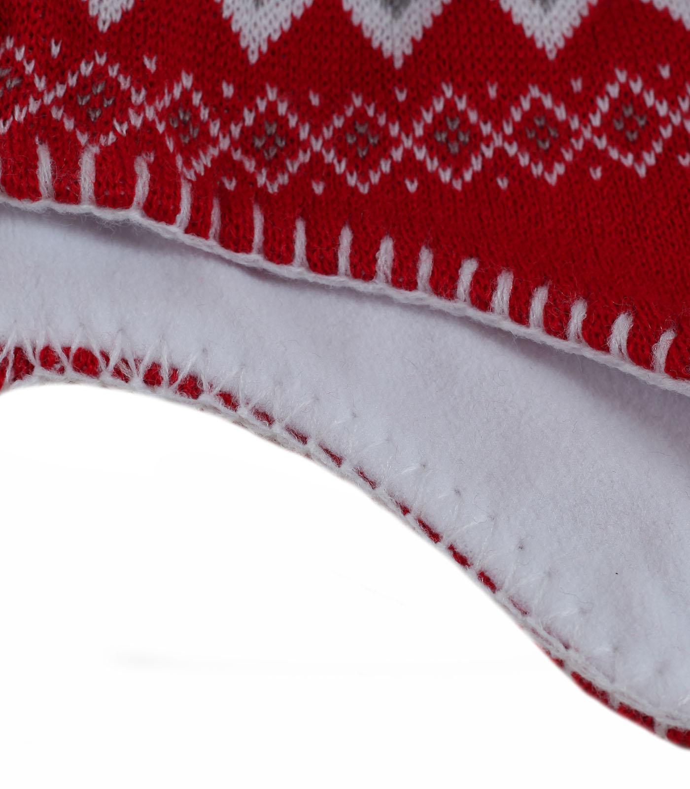 Заказать женскую яркую шапку – ушанку с жаккардовым узором утепленную флисом по лучшей цене