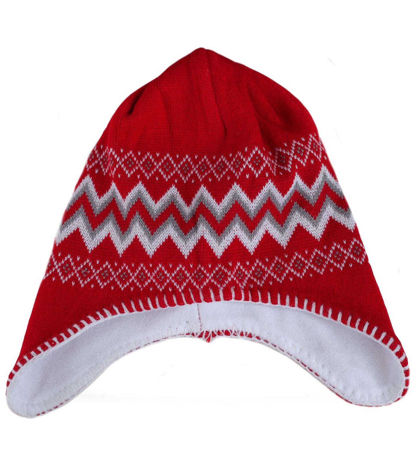 Женская яркая шапка – ушанка с жаккардовым узором утепленная флисом