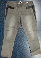 Женские джинсы-баталы с кожаными вставками