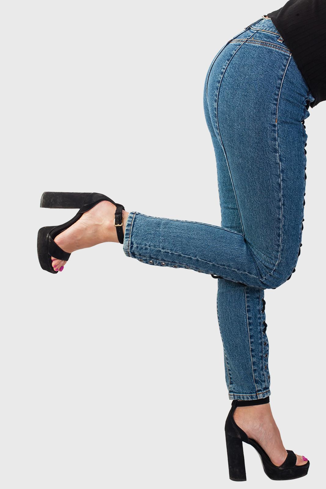 Женские джинсы со шнуровкой от Los Angeles Atelier оптом