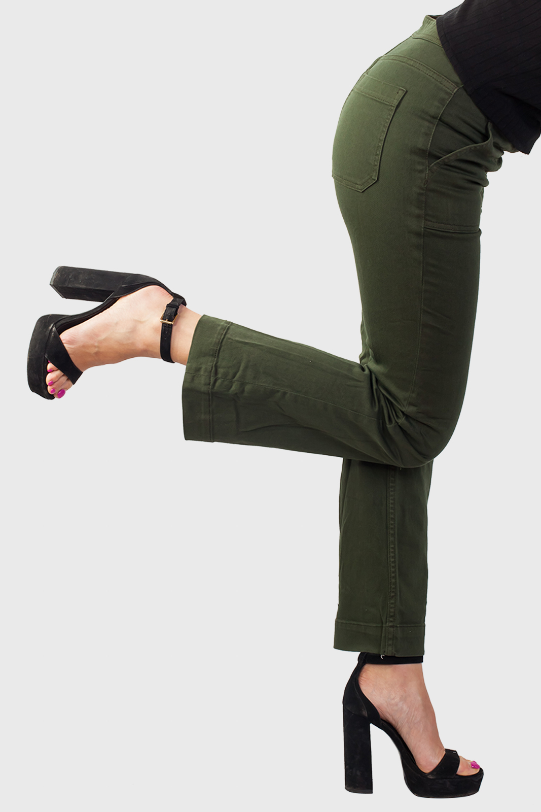 Женские джинсы цвета хаки с удобнойт доставкой