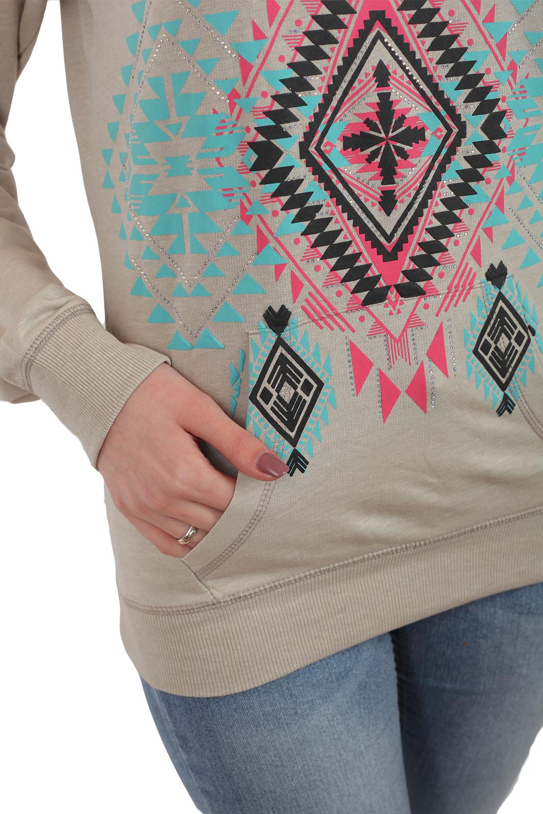 Женский свитер Rock and Roll Cowgirl. Карман, модный цвет «ню» и актуальный в этом сезоне ЭТНО орнамент. Носи как оверсайз или заказывай свой размер!
