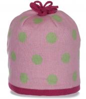 Женственная розовая зимняя шапка утепленная флисом милый обворожительный дизайн