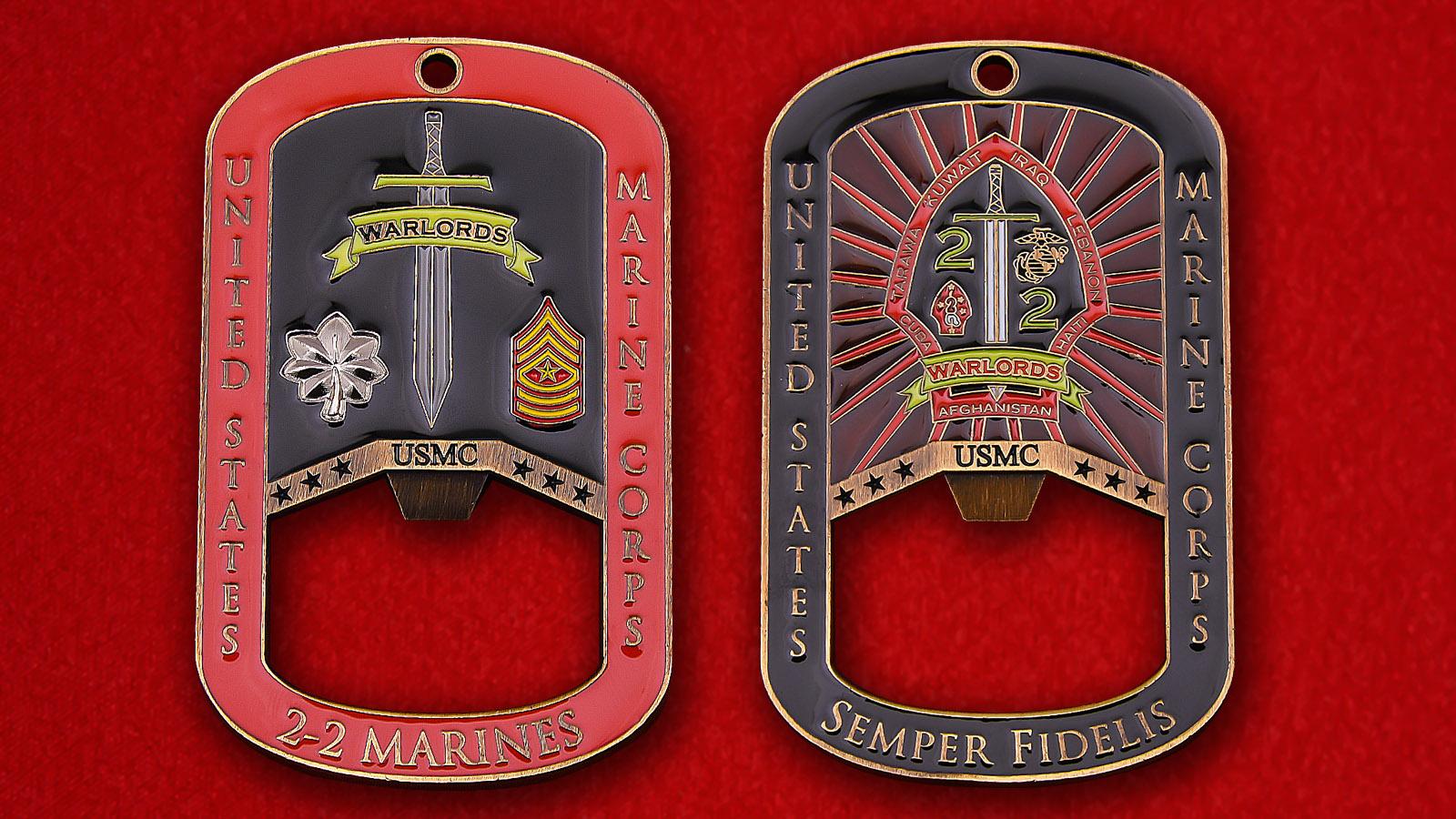 """Жетон-открывалка """"2-й легкий пехотный батальон 2-го полка Корпуса Морской Пехоты США"""""""