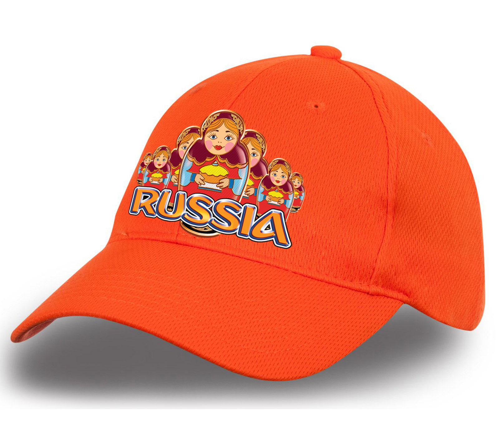 """Жизнерадостная бейсболка """"Russia"""" с матрешками. Эффектный головной убор. Заказывай и выделяйся!"""