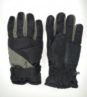 Зимние черные перчатки со вставками цвета хаки