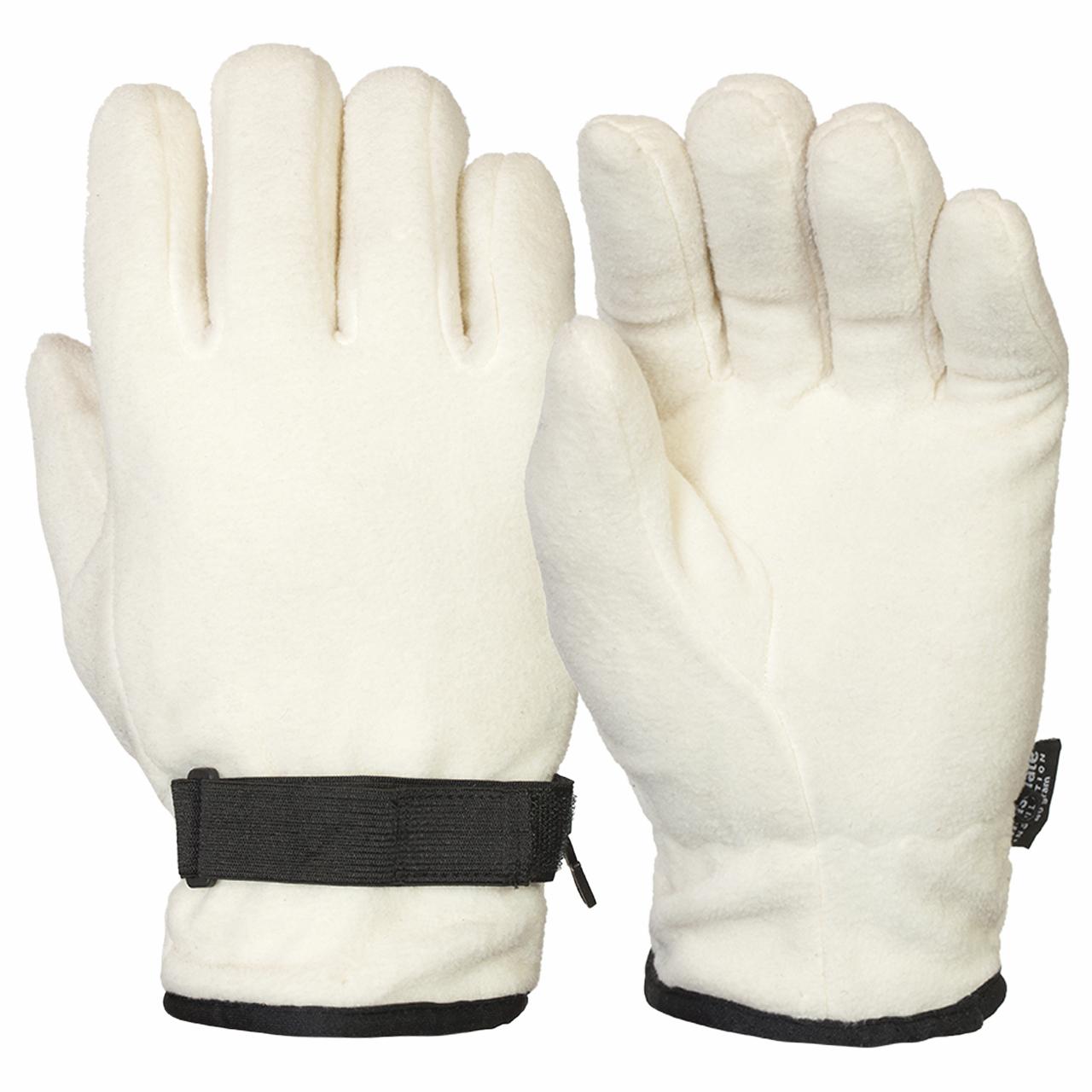Теплые белые перчатки флис