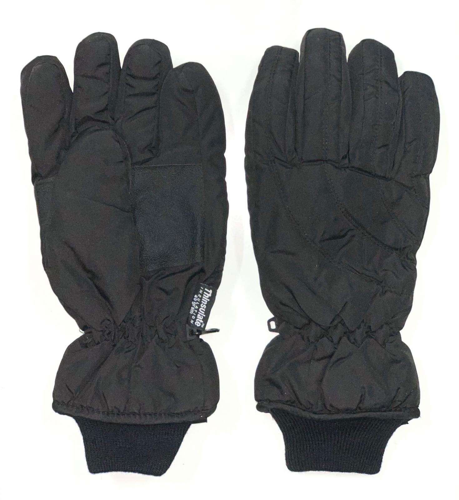 Зимние перчатки черного цвета с манжетами