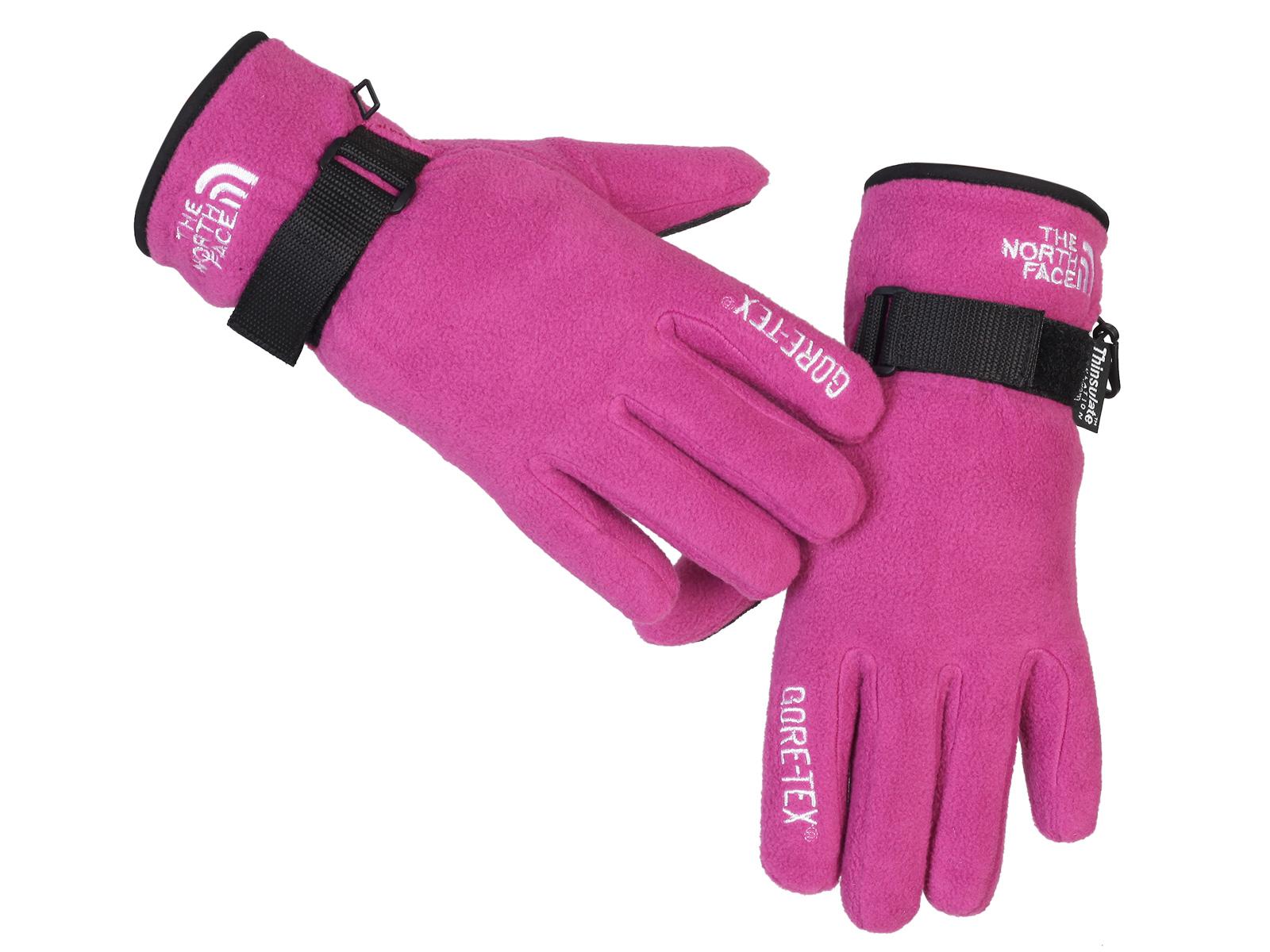 Розовые женские перчатки на флисе