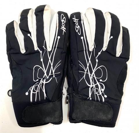 Зимние женские перчатки черно-белые