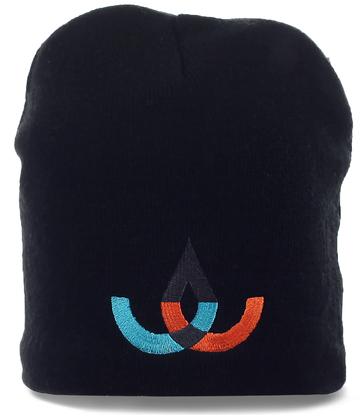 Зимняя мужская трикотажная шапка с элегантной вышивкой утепленная флисом