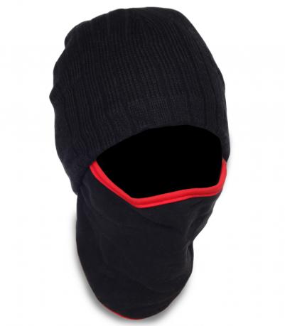 Зимняя трикотажная мужская шапка-балаклава утепленная флисовой подкладкой