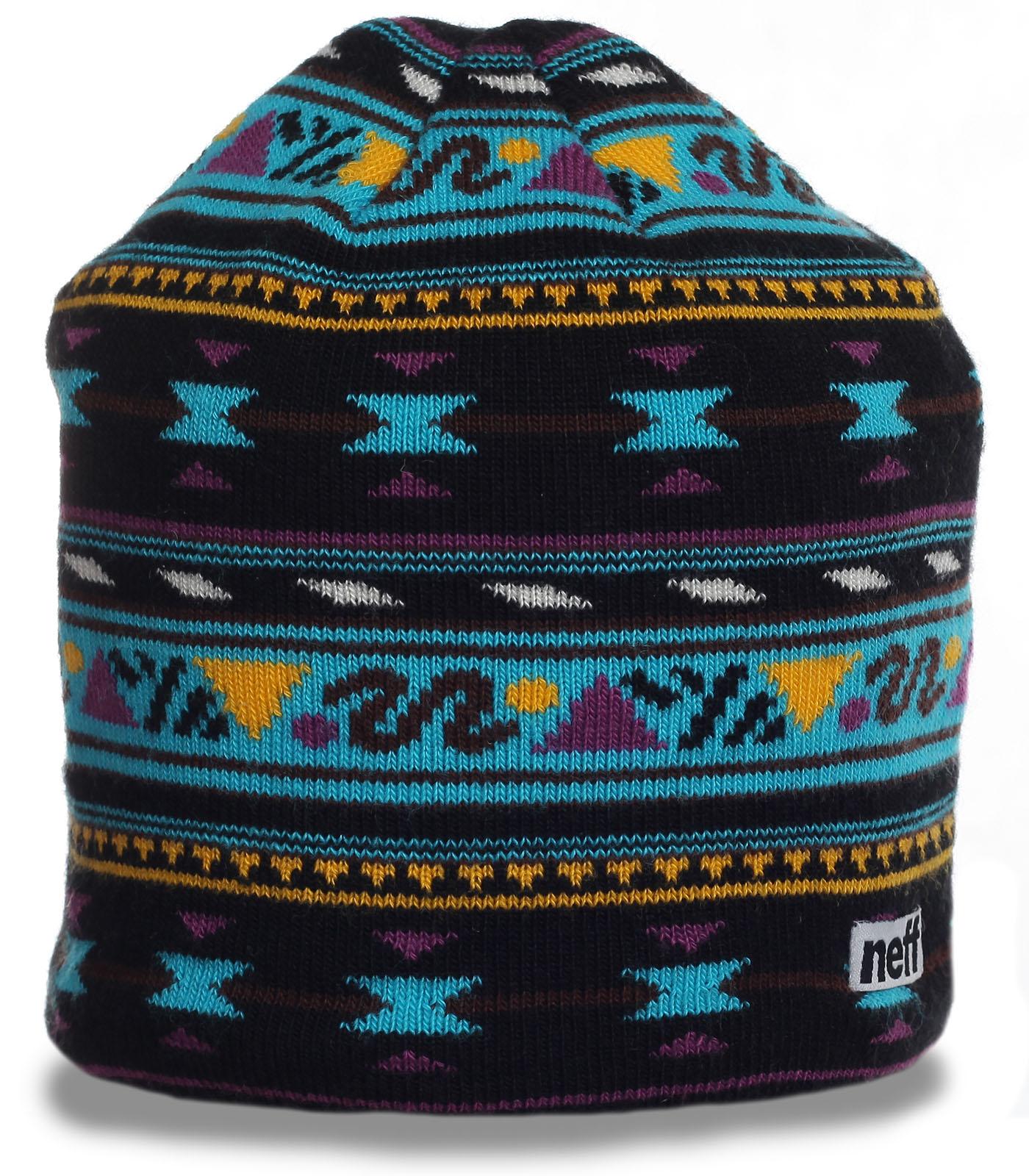 Зимняя жаккардовая шапка бини бренда Neff отличный выбор в гардероб ценителю стиля