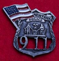 """Значок """"11 сентября"""" в память о погибших сотрудниках полиции (состаренный)"""