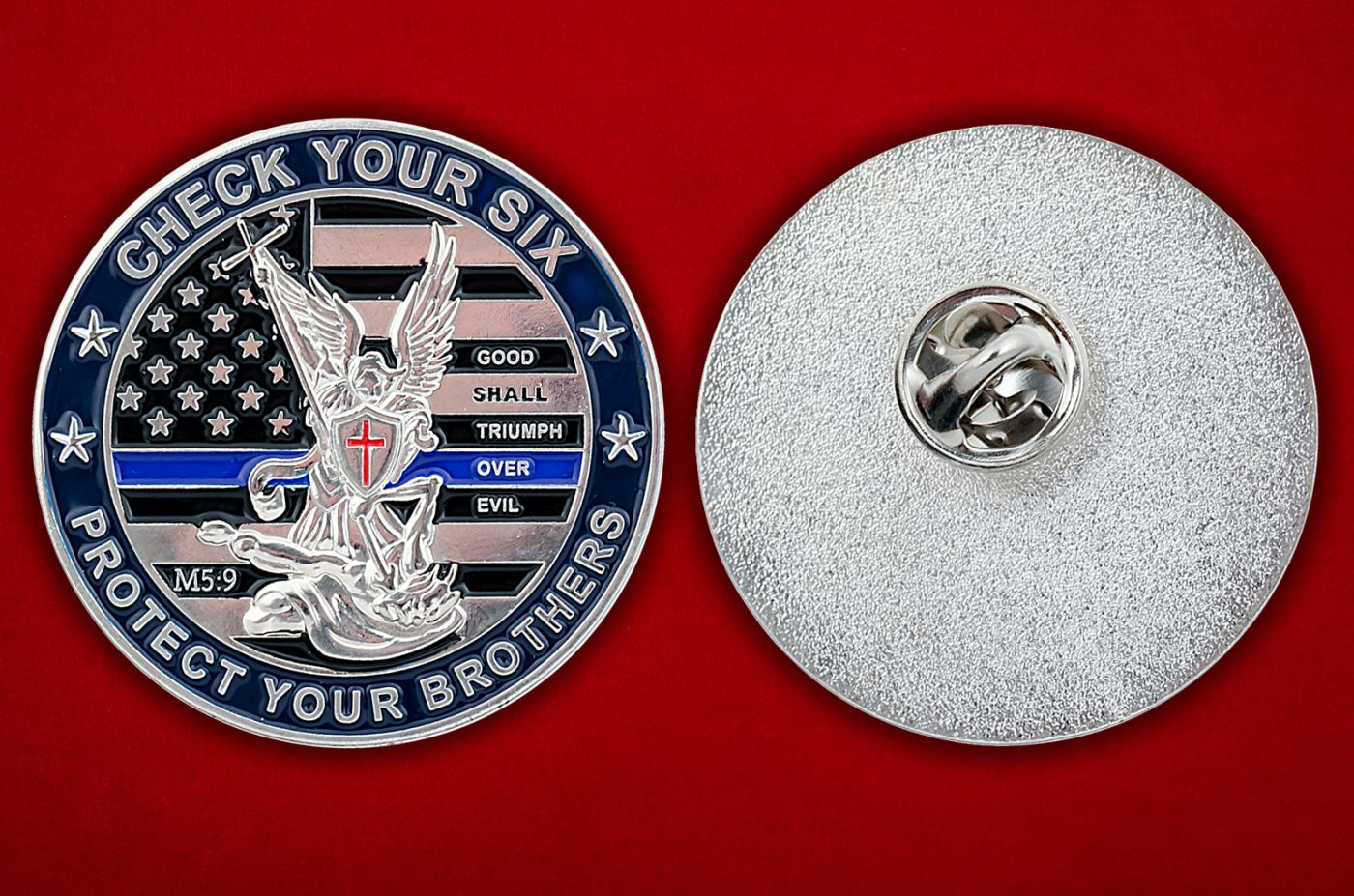"""Значок движения """"В поддержку правоохранительных органов США"""" - аверс и реверс"""
