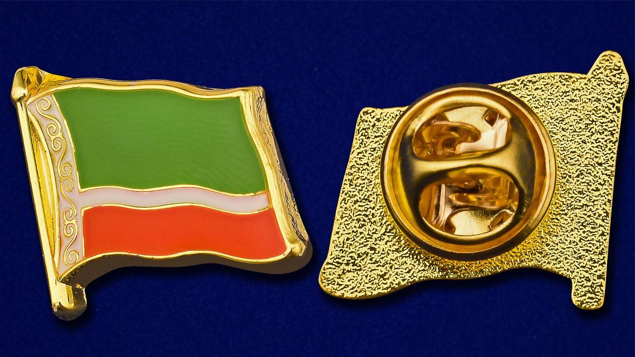 """Значок """"Флаг Чечни"""" - аверс и реверс"""