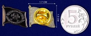 """Значок """"Флаг генерала Бакланова""""-сравнительный размер"""