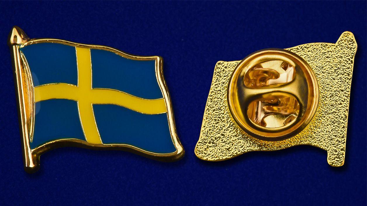 """Значок """"Флаг Швеции"""" - аверс и реверс"""