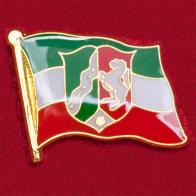 """Значок """"Флаг земли Северный Рейн-Вестфалия"""", Германия"""