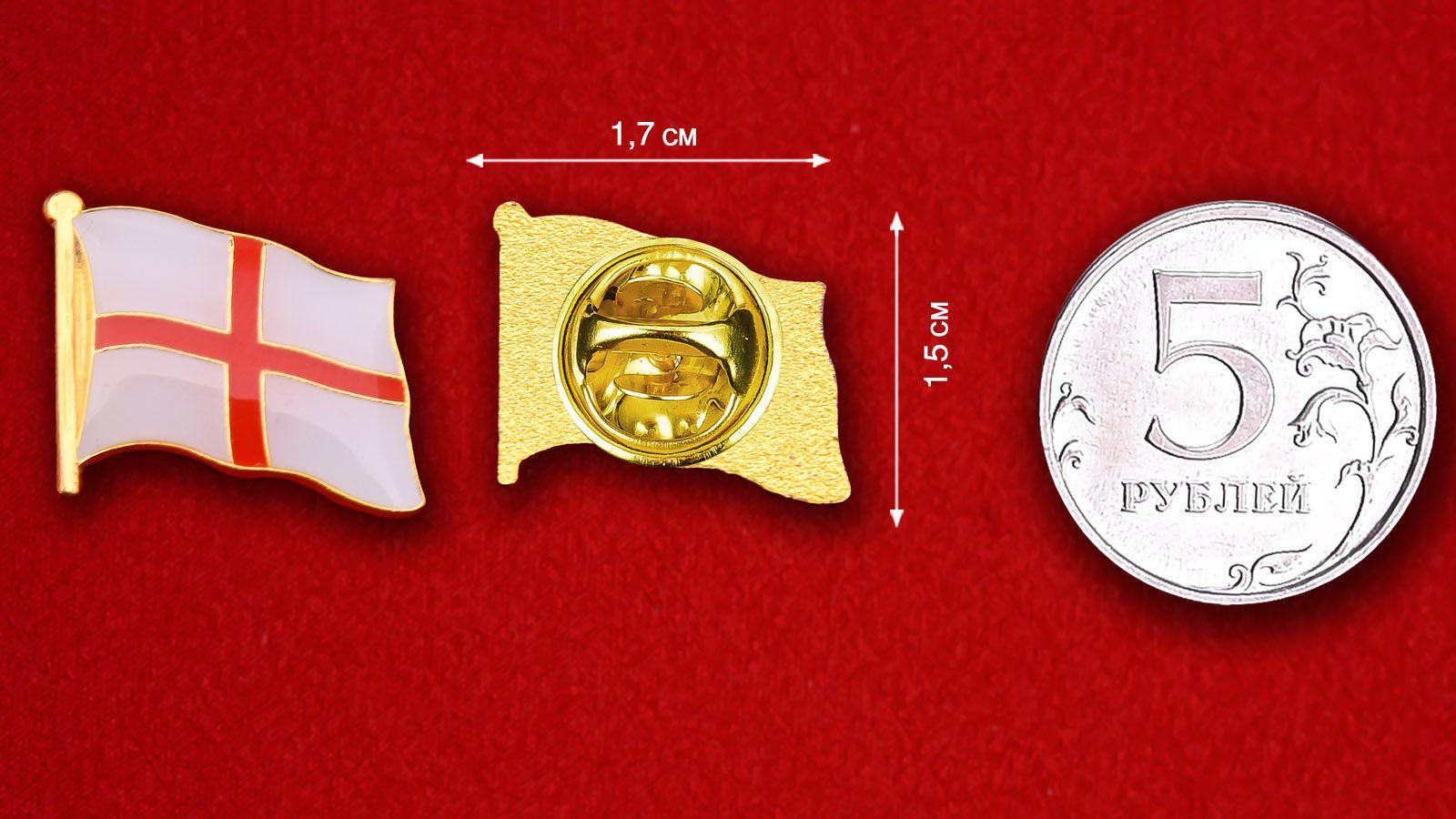 Значок Флага Англии - сравнительный размер