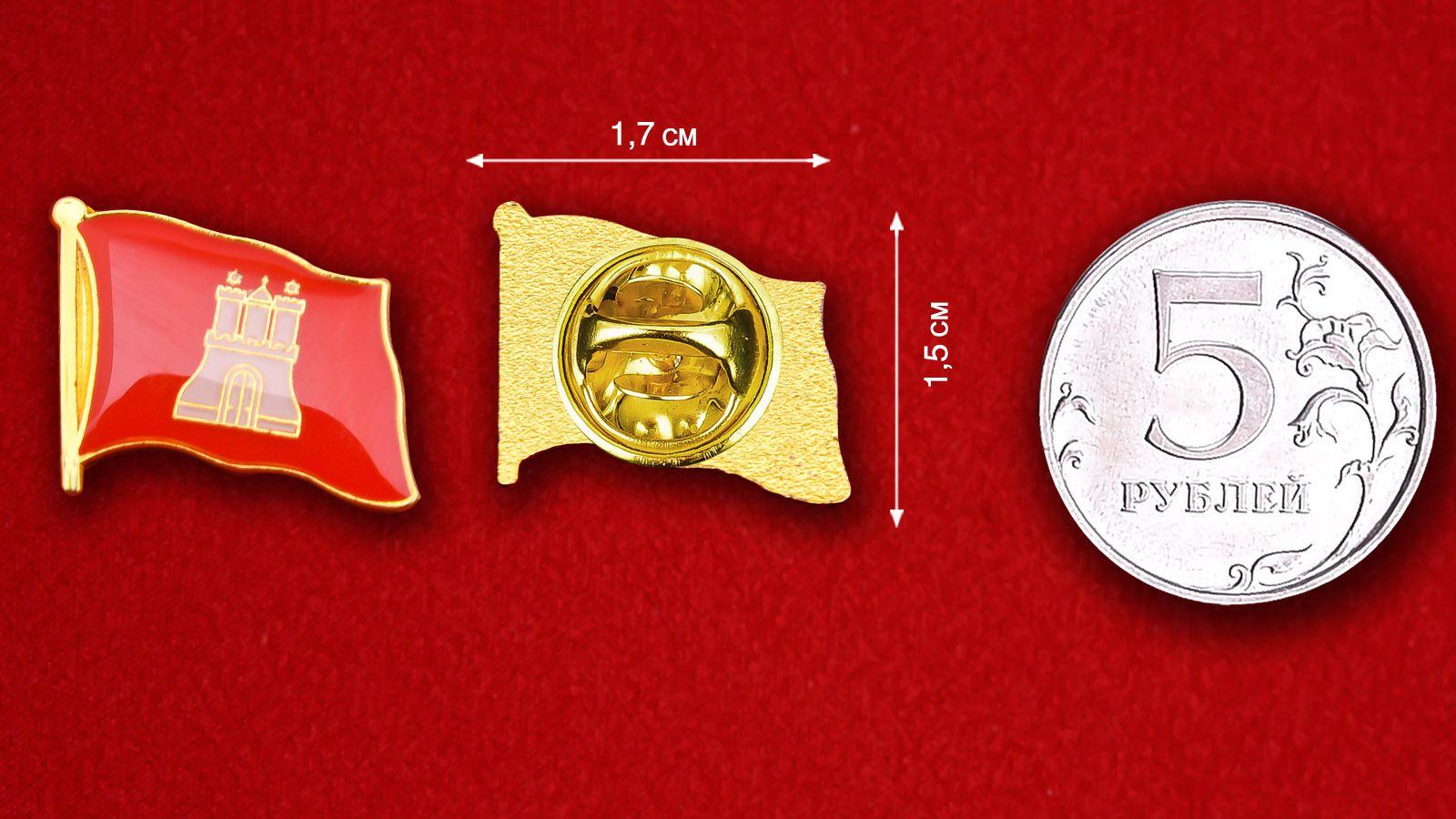 Значок Флага Гамбурга - сравнительный размер