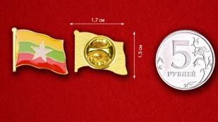 Значок Флага Мьянмы - сравнительный размер