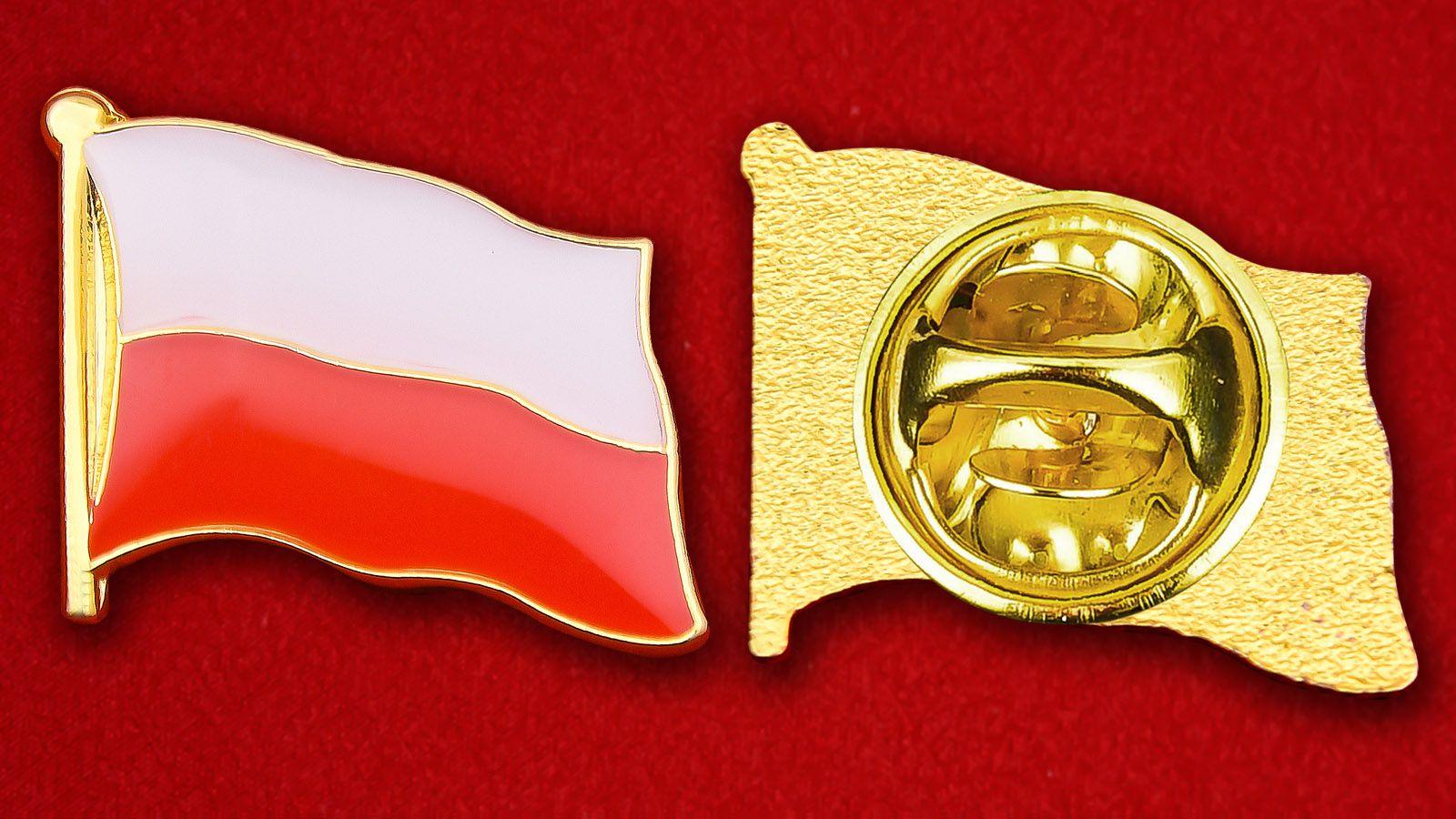 Значок Флага Польши - аверс и реверс