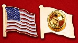 Значок Флага Соединённых Штатов Америки - аверс и реверс