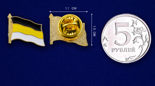 """Значок """"Имперский флаг"""" - сравнительный размер"""