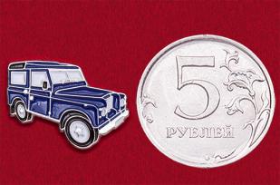 Значок из автомобильной коллекции с винтажной моделью Land Rover Series III (синий)