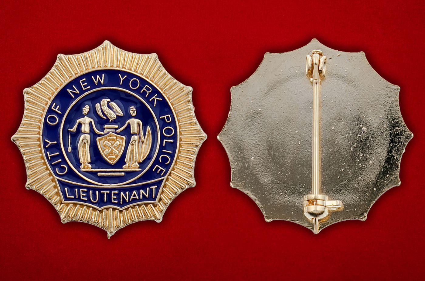 Значок лейтенанта полиции Нью-Йорка - аверс и реверс