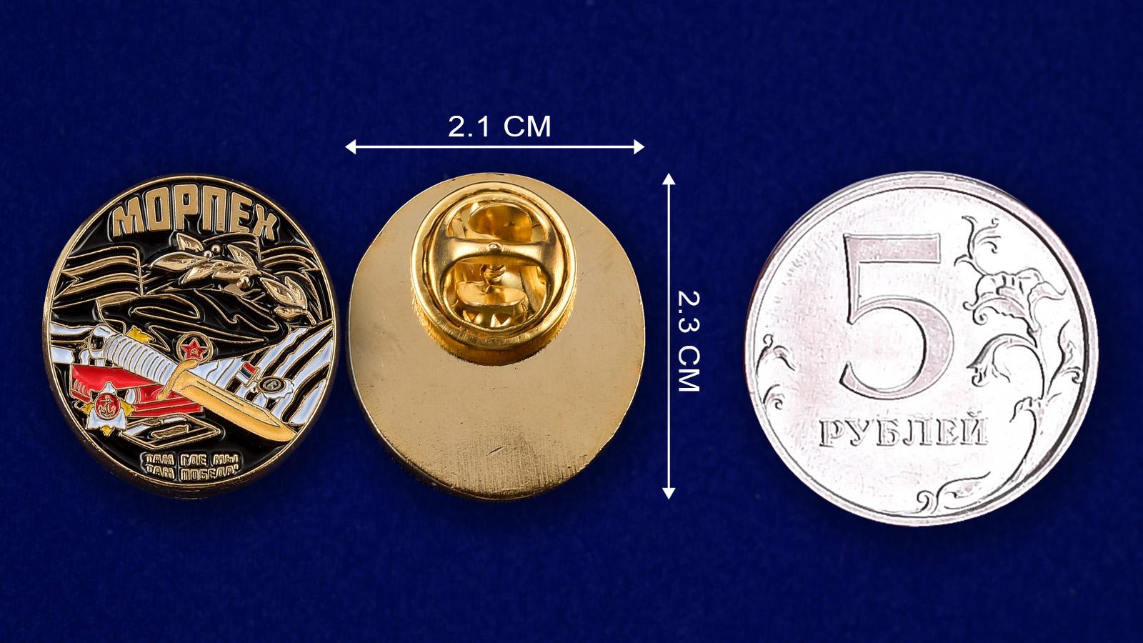 Значок Морпех-сравнительный размер