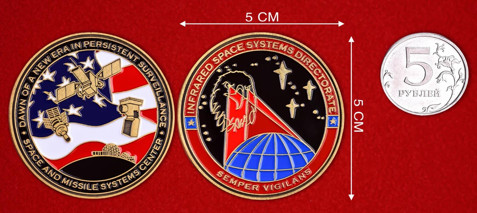 Челлендж коин Центра управления инфракрасными космическими системами ВВС США - сравнительный размер