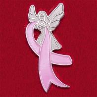 Значок-оберег от рака груди с ангелом и розовой лентой