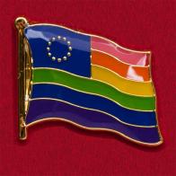 """Значок """"Радужный толерантный флаг Евросоюза"""""""