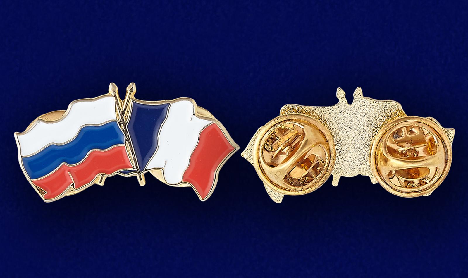 Значок Россия и Франция - аверс и реверс