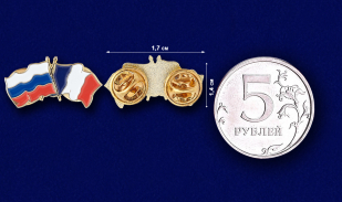 Значок Россия и Франция - сравнительный размер