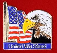 """Значок с американским флагом """"United We Stand"""""""