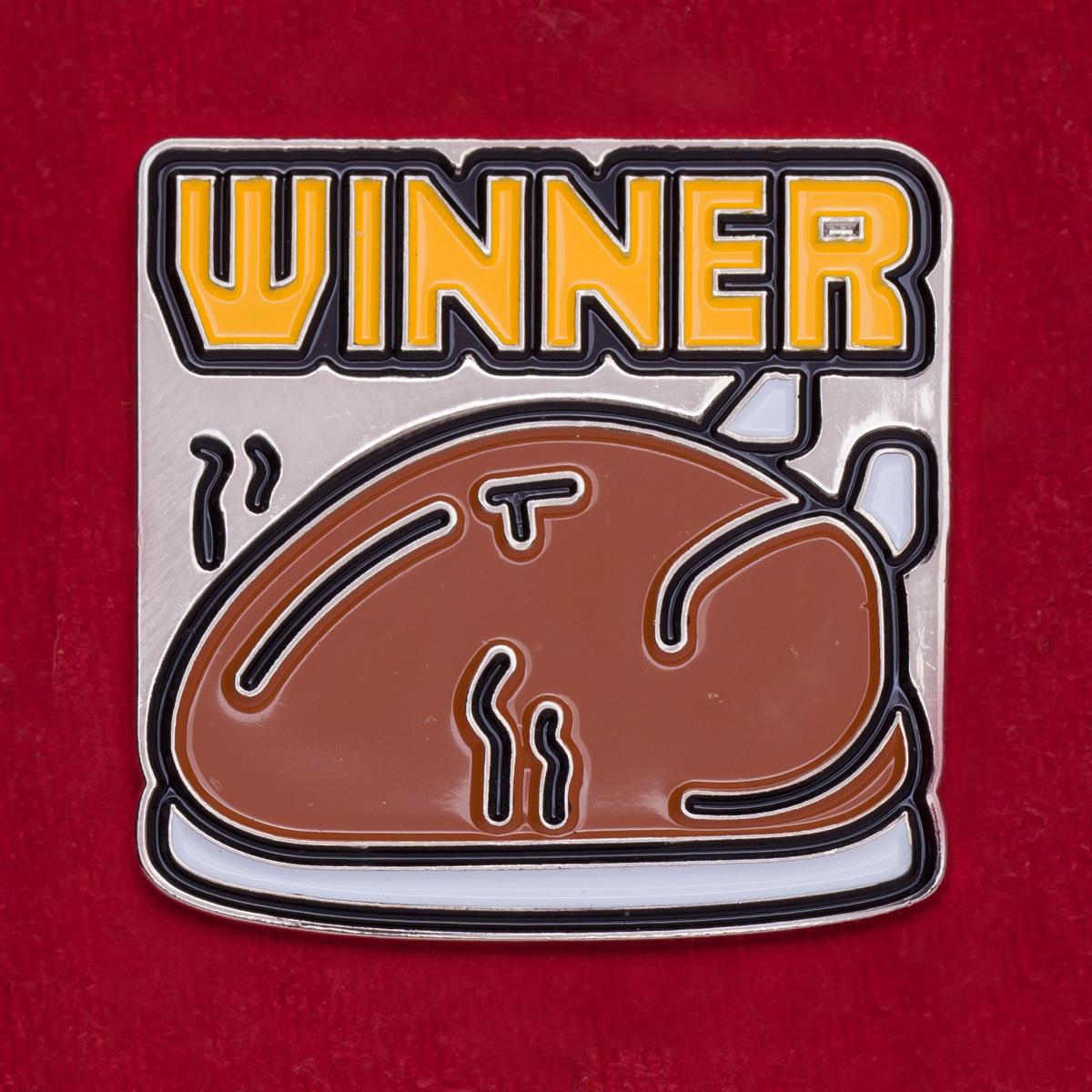 """Значок с американским мемом """"Выигрыш есть - можно поесть"""". На удачу в азартных играх"""