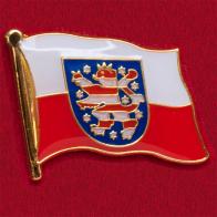 Значок с флагом федеральной земли Тюрингия, Германия