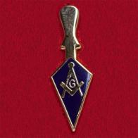 """Значок с масонскими символами """"Циркуль и наугольник"""""""