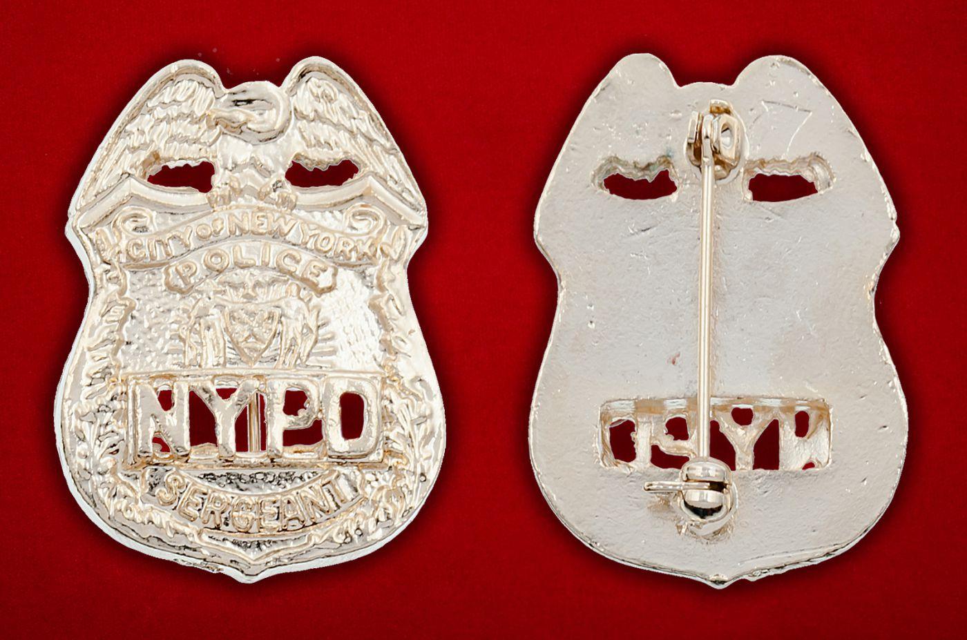 Значок сержанта полиции Нью-Йорка - аверс и реверс