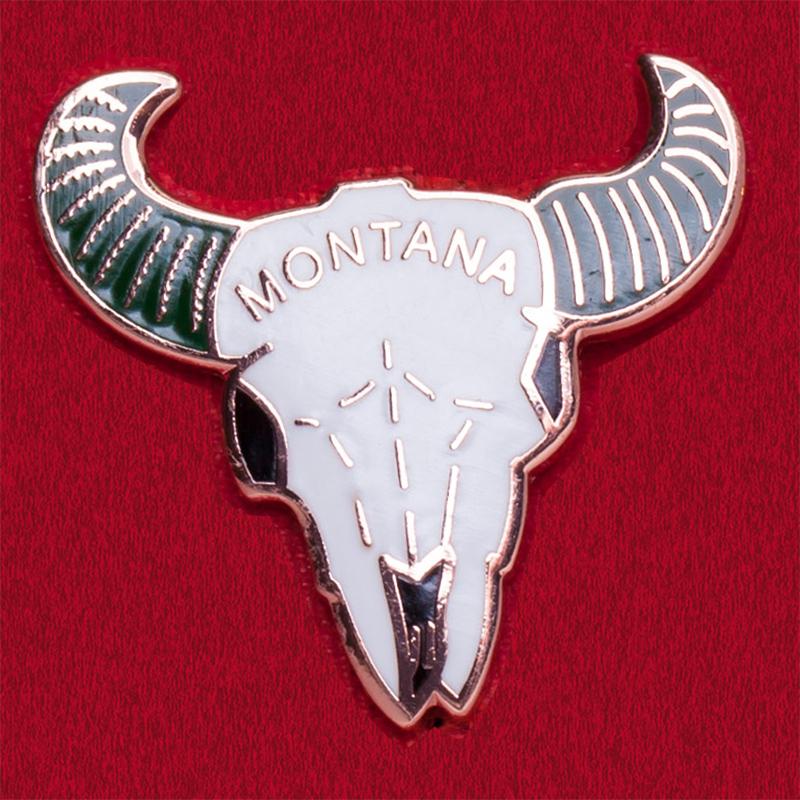 Значок штата Монтана с черепом барана