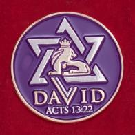 """Значок со звездой Давида """"Деяния св. апостолов 13:22"""""""